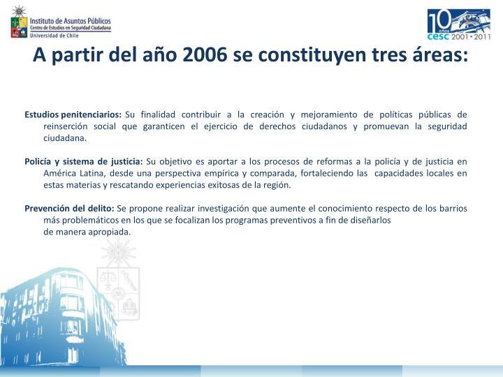 A partir del año 2006 se constituyen tres áreas: