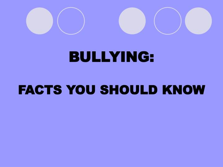 bullying facts you should know n.