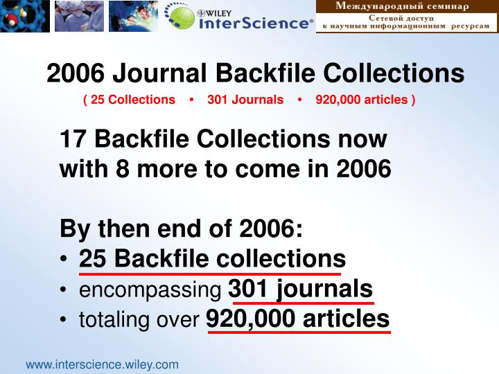 2006 Journal Backfile Collections
