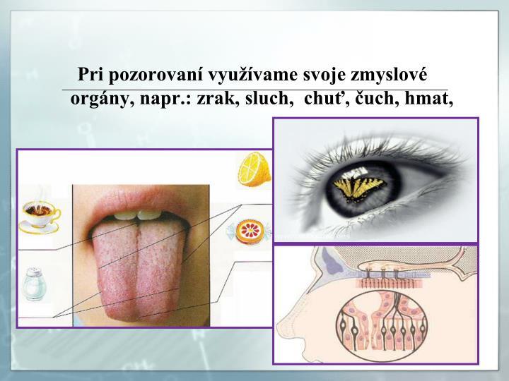 Pri pozorovaní využívame svoje zmyslové orgány, napr.: zrak, sluch,  chuť, čuch, hmat,
