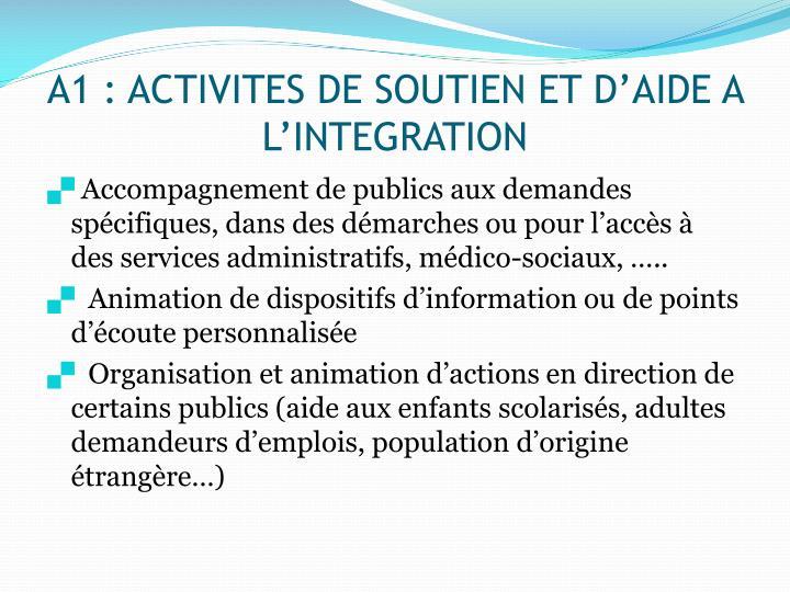 A1 activites de soutien et d aide a l integration
