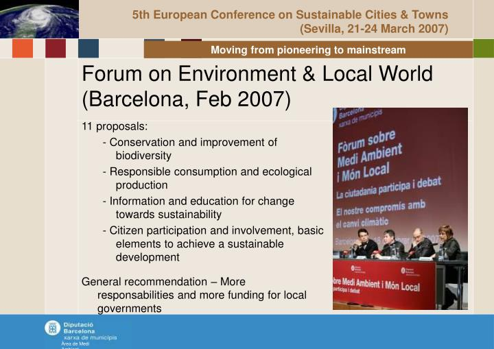 5th European Conference on Sustainable Cities & Towns (Sevilla, 21-24 March 2007)