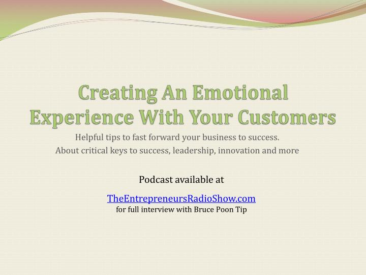 creating an emotional experience with your customers n.