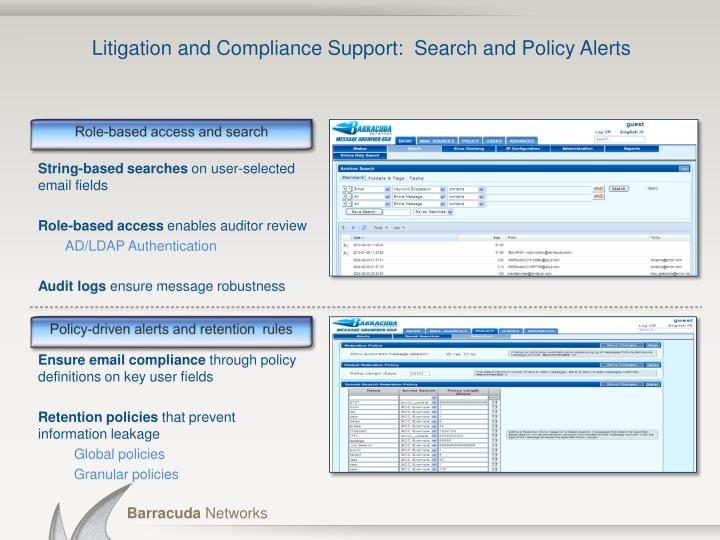 Litigation and Compliance Support:  Search and Policy Alerts