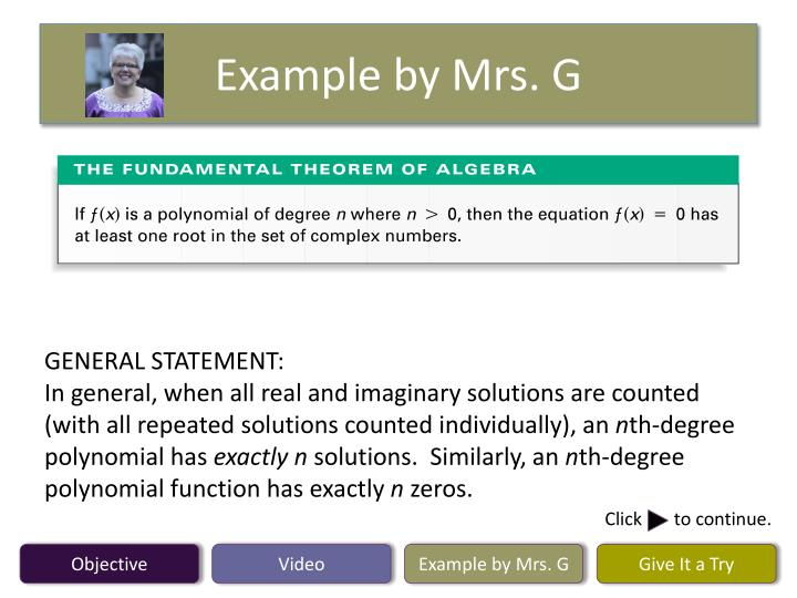 Example by Mrs. G