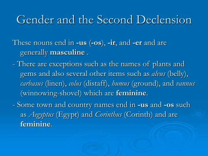 Gender and the second declension