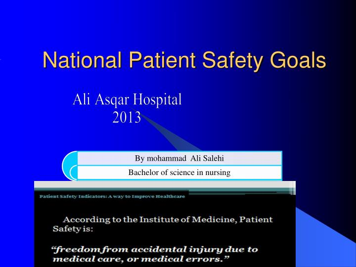national patient safety goals n.