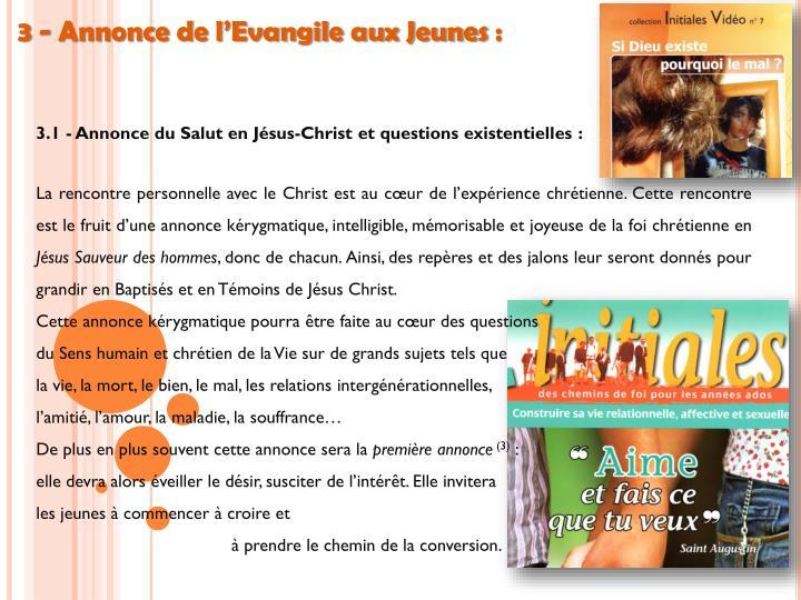 3 - Annonce de l'Evangile aux Jeunes: