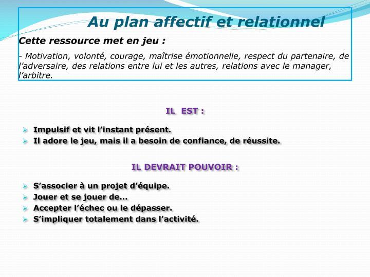 Au plan affectif et relationnel