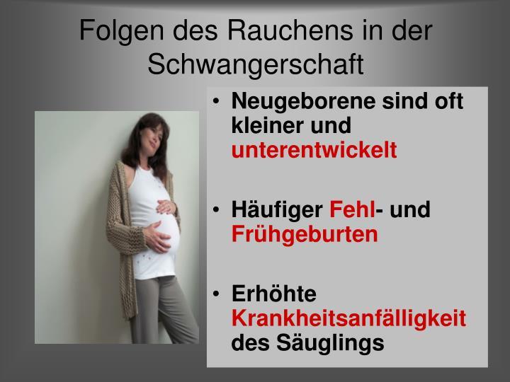 Folgen des Rauchens in der Schwangerschaft