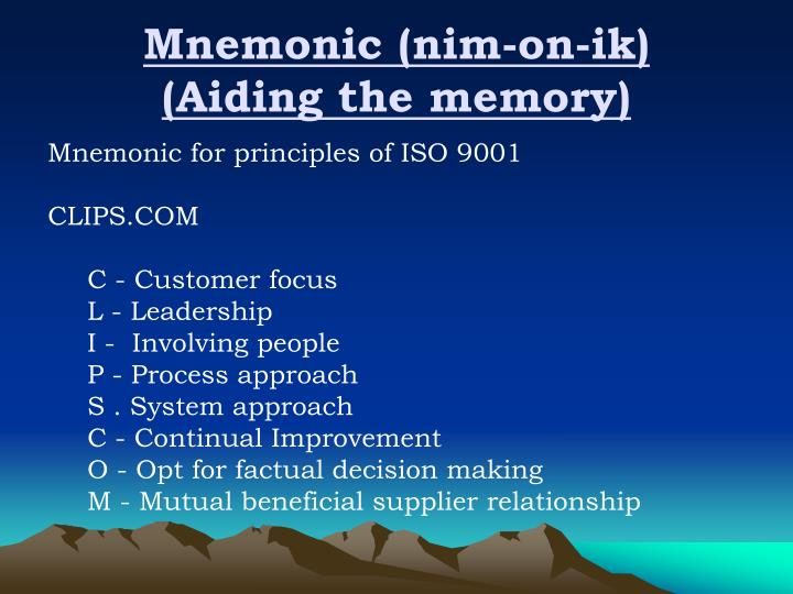 Mnemonic nim on ik aiding the memory