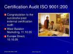 certification audit iso 9001 200
