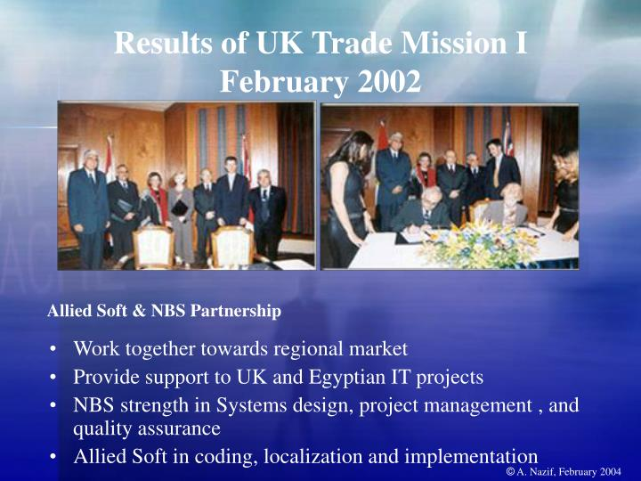 Results of UK Trade Mission I
