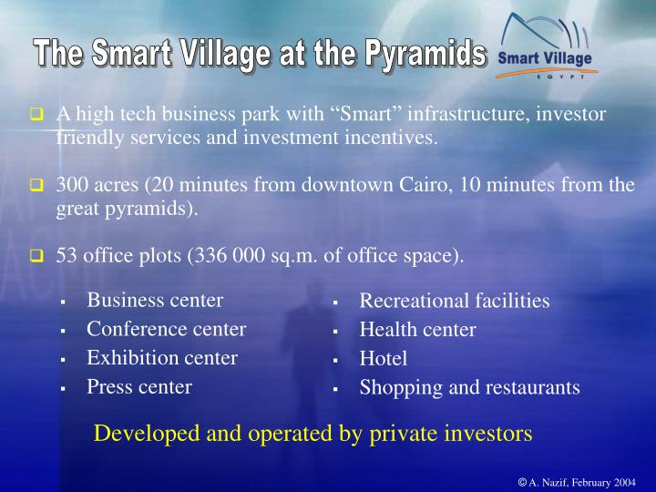 The Smart Village at the Pyramids