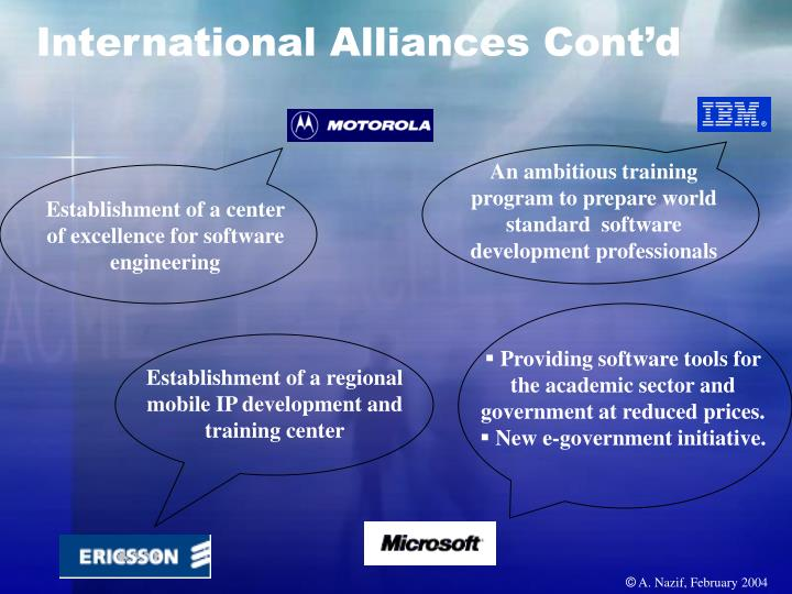 International Alliances Cont'd