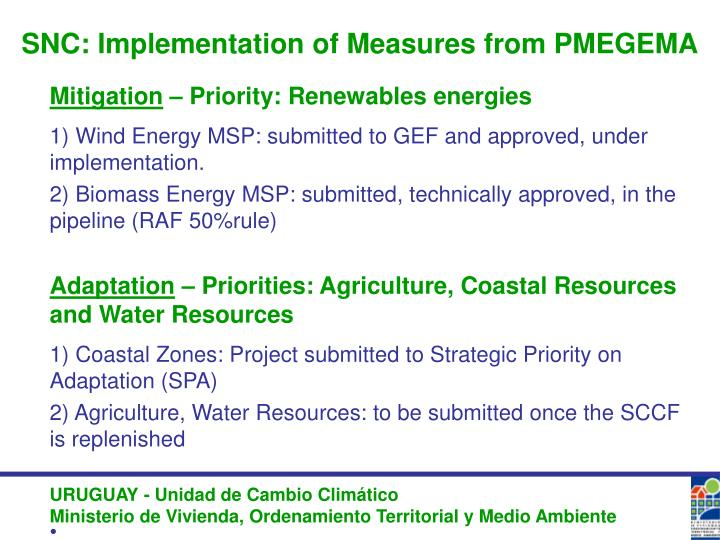 SNC: Implementation of Measures from PMEGEMA