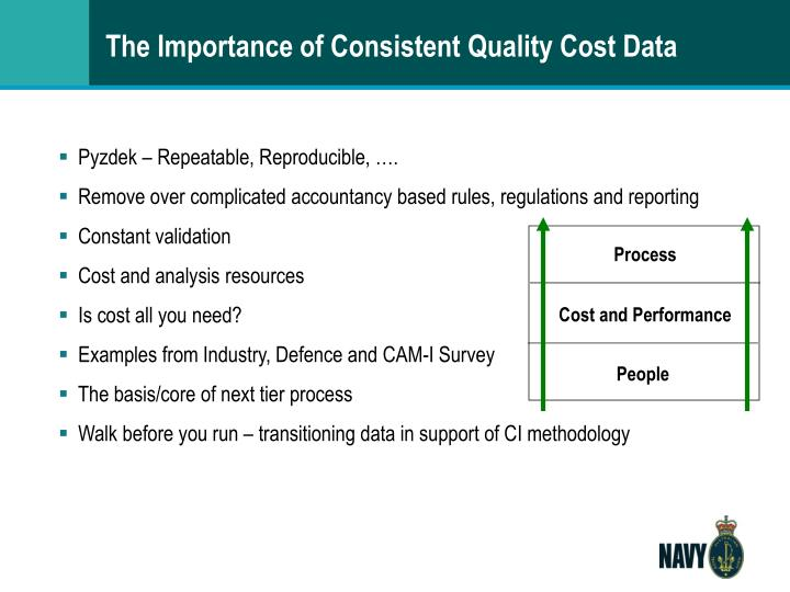 The importance of consistent quality cost data