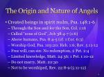 the origin and nature of angels