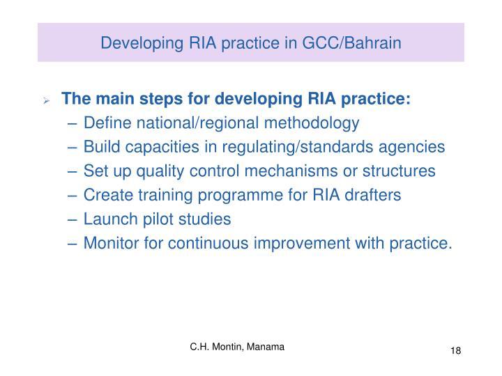 Developing RIA practice in GCC/Bahrain