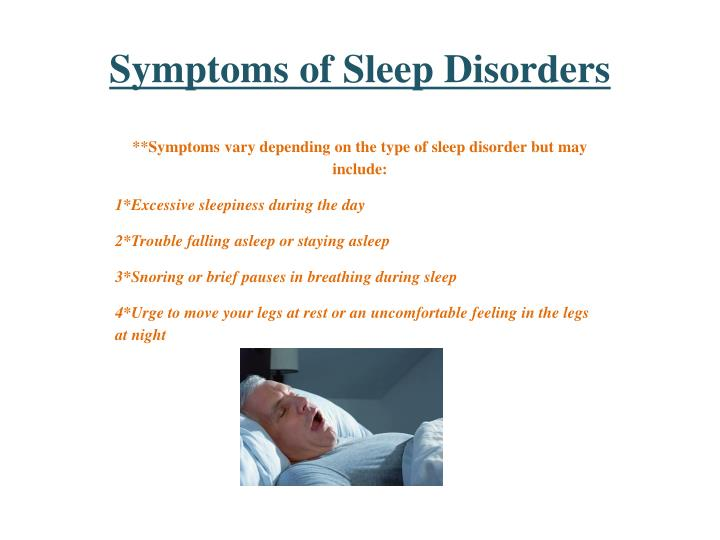 Symptoms of sleep disorders