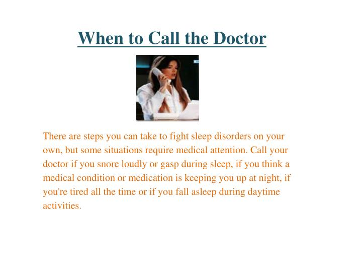 When to Call the Doctor
