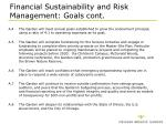 financial sustainability and risk management goals cont