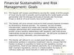 financial sustainability and risk management goals