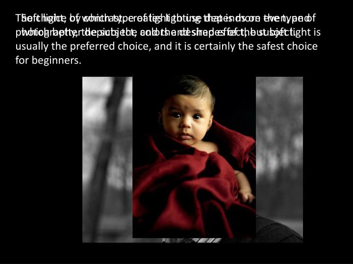 The choice of which type of light to use depends on the type of photography, the subject, and the desired effect, but soft light is usually the preferred choice, and it is certainly the safest choice for beginners.