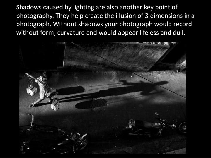 Shadows caused by lighting are also another key point of photography. They help create the illusion of 3 dimensions in a photograph. Without shadows your photograph would record without form, curvature and would appear lifeless and dull.