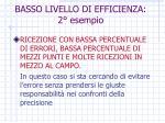 basso livello di efficienza 2 esempio