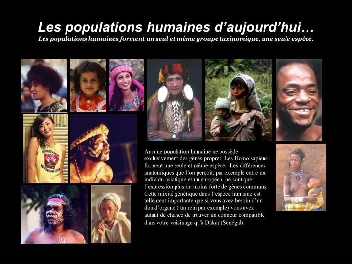 Les populations humaines d'aujourd'hui…