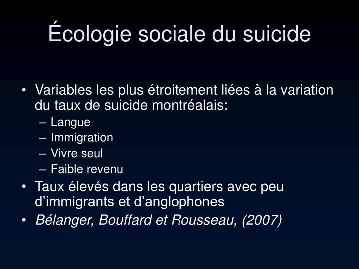 Écologie sociale du suicide