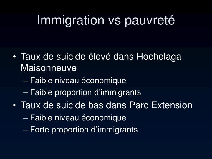 Immigration vs pauvreté