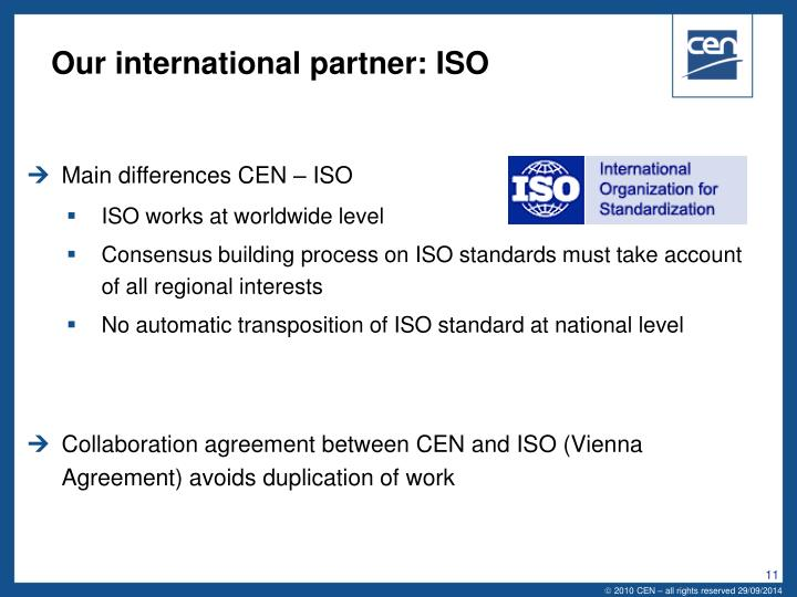 Our international partner: ISO