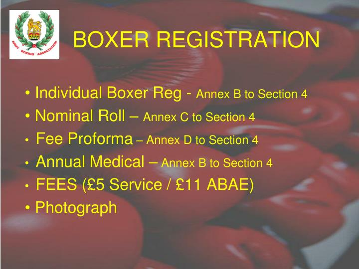 BOXER REGISTRATION
