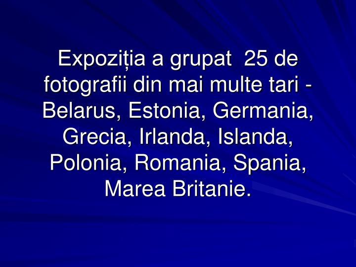 Expoziția a grupat 25 de fotografii din mai multe tari - Belarus, Estonia, Germania, Grecia, Irlanda, Islanda, Polonia, Romania, Spania, Marea Britanie.