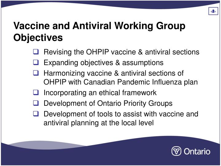 Vaccine and antiviral working group objectives