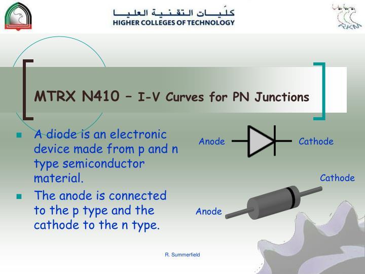 Mtrx n410 i v curves for pn junctions