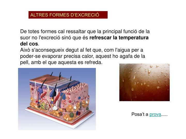 ALTRES FORMES D'EXCRECIÓ