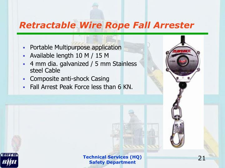 Retractable Wire Rope Fall Arrester