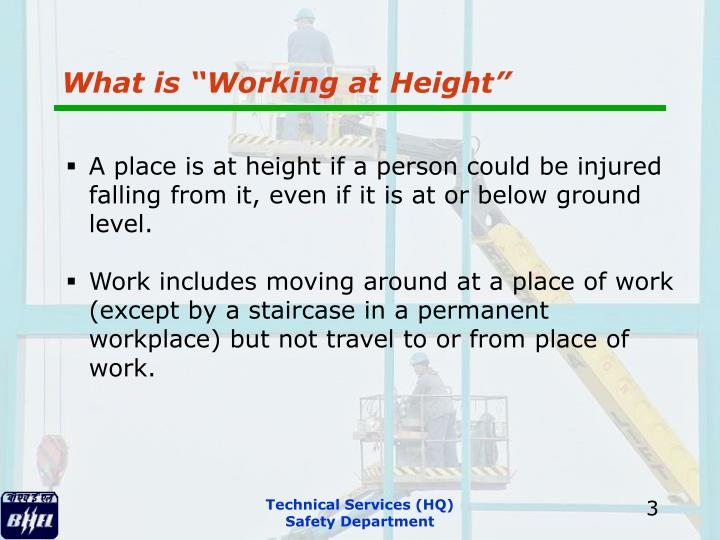 """What is """"Working at Height"""""""