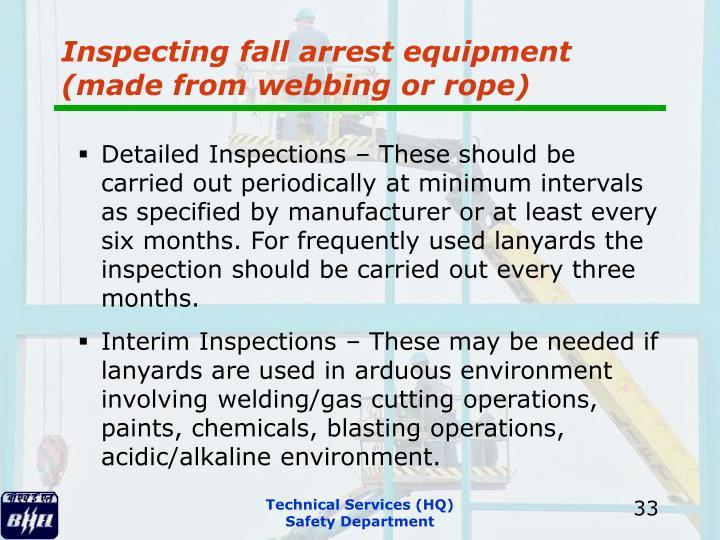 Inspecting fall arrest equipment