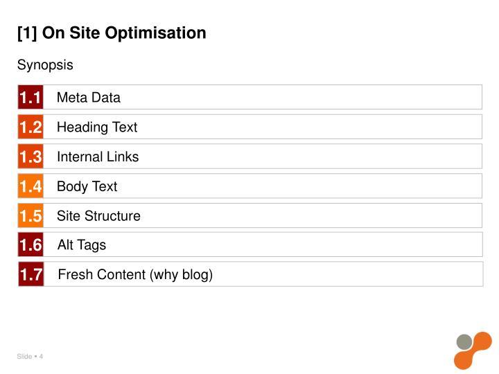 [1] On Site Optimisation