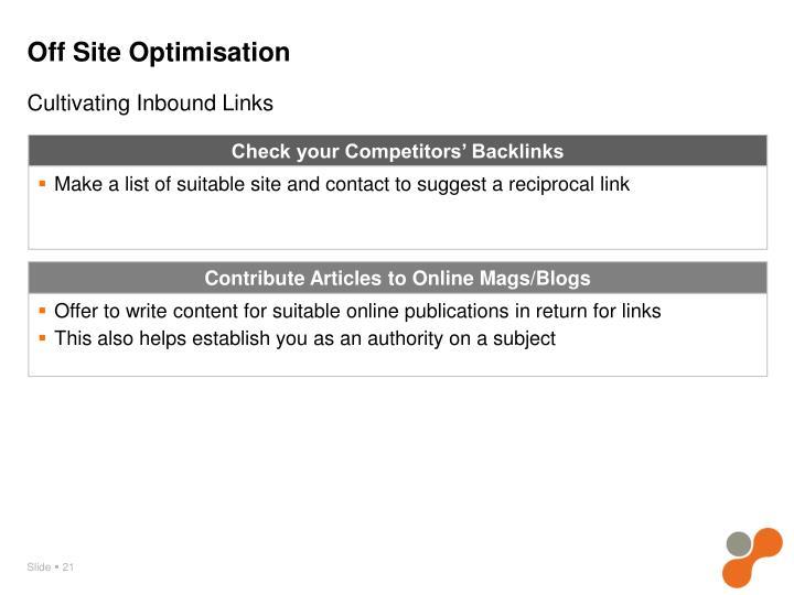 Off Site Optimisation