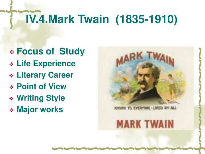 a document on the life and literary career of mark twain Mark twain award - the list of although there were several distinguished writing awards available during and after his literary career life on the.