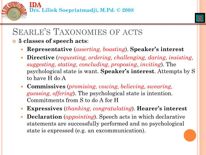 Searle's Taxonomies of acts
