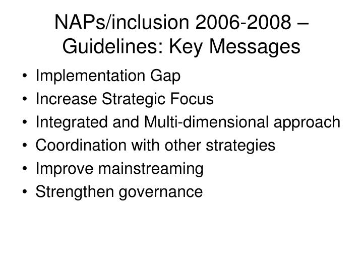 NAPs/inclusion 2006-2008 – Guidelines: Key Messages