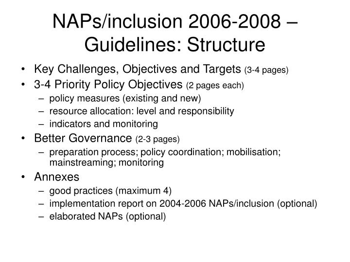 NAPs/inclusion 2006-2008 – Guidelines: Structure