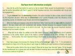 surface level information analysis