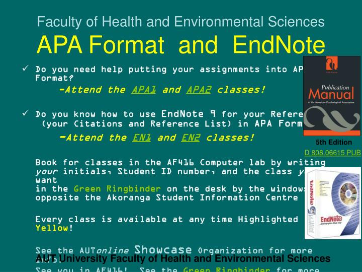 faculty of health and environmental sciences apa format and endnote n.